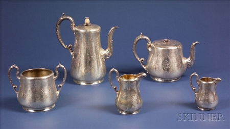 Five Piece Victorian Silver Tea and Coffee Service