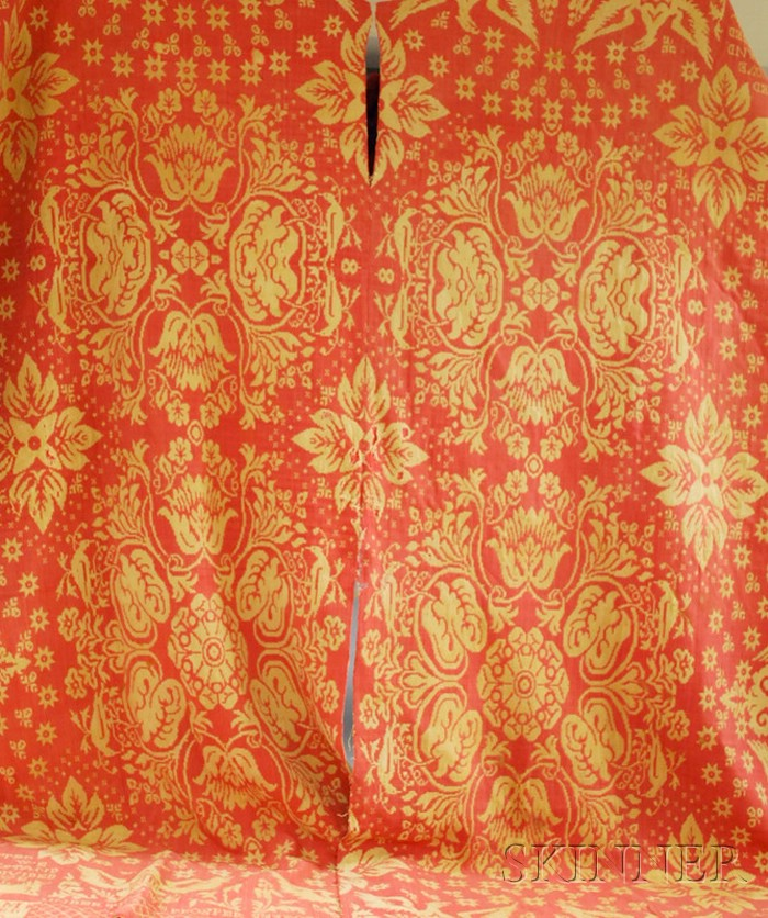 """""""1846, Washington, Under This We Prosper"""" Red and White Woven Wool and Cotton   Coverlet"""