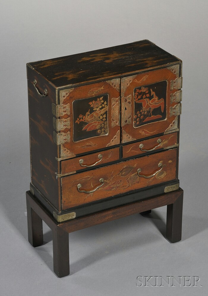 Japanese Lacquer and Metal-mounted Dressing Table Cabinet