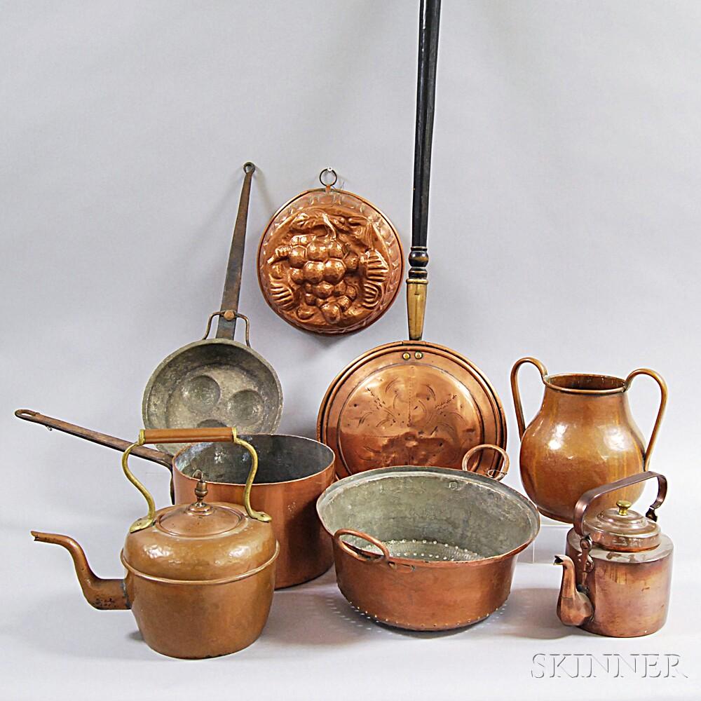 Eight Copper Domestic Items