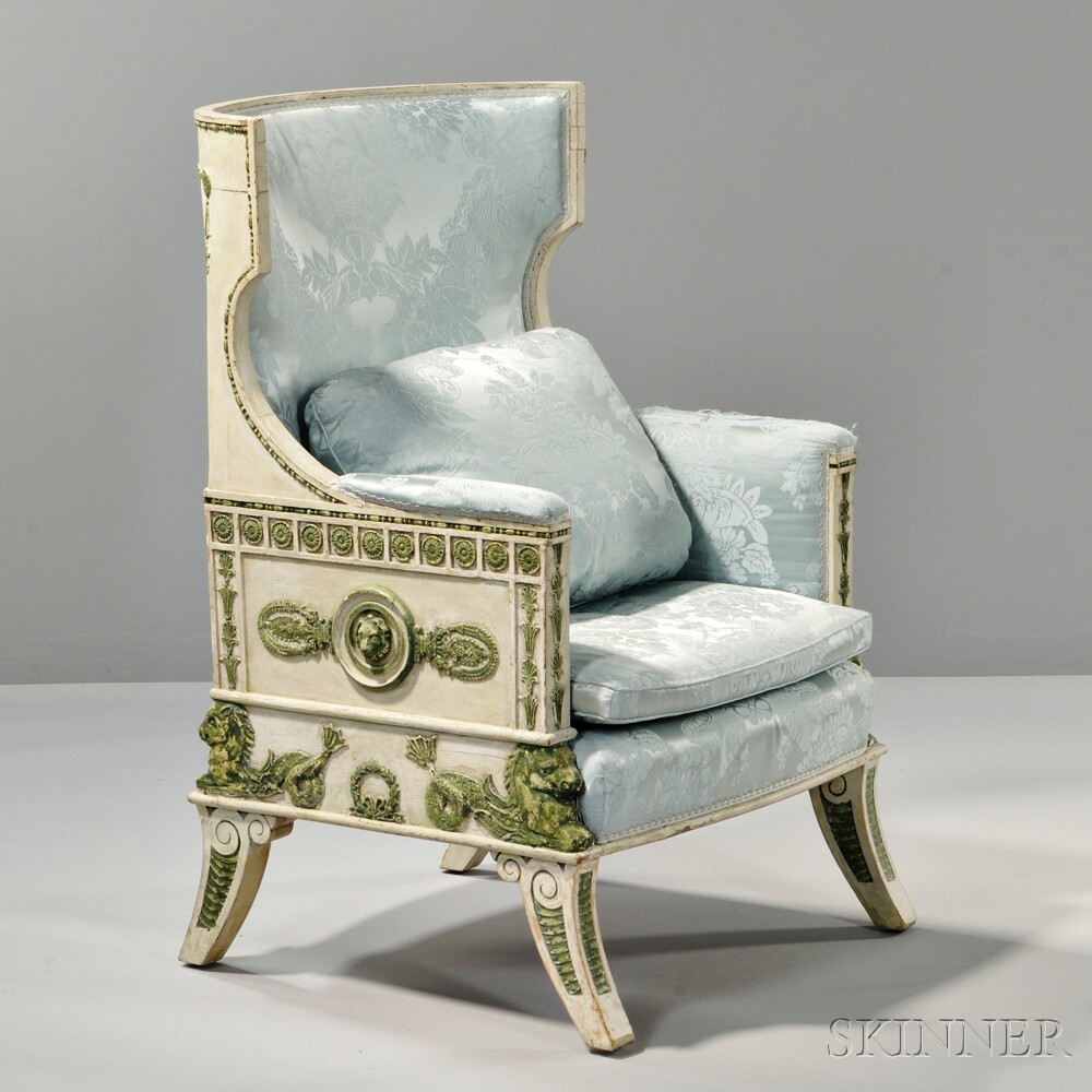 Gustav IV-style Green- and White-painted Bergere