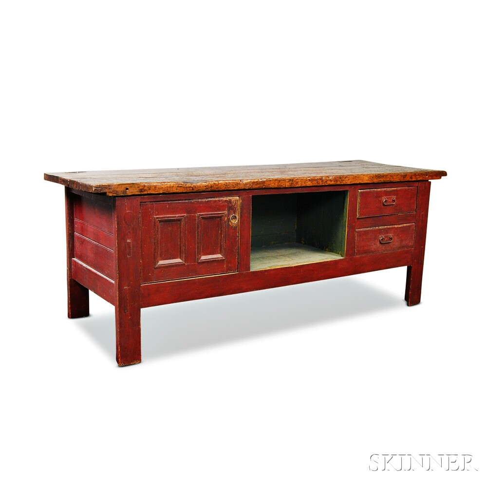 Large Red-painted Country Workbench