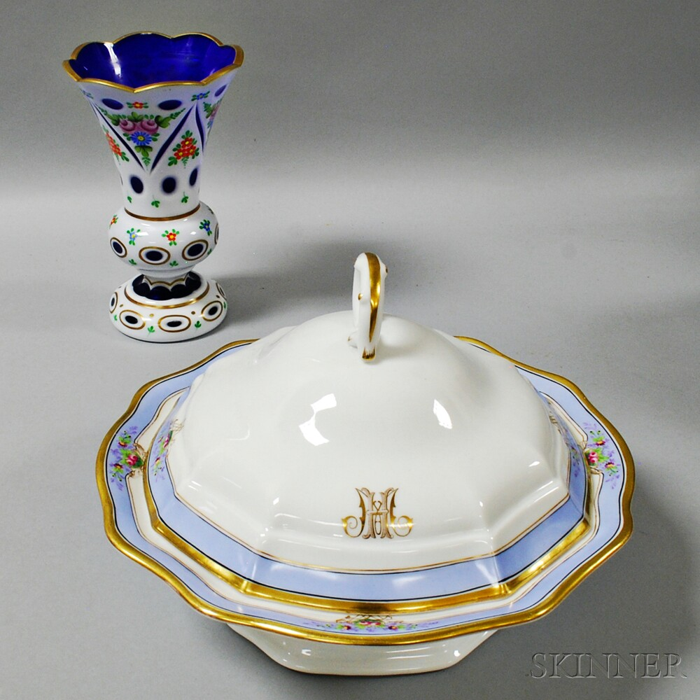 German Porcelain Covered Dish and a Cased Cobalt Glass Vase Floral Decoration