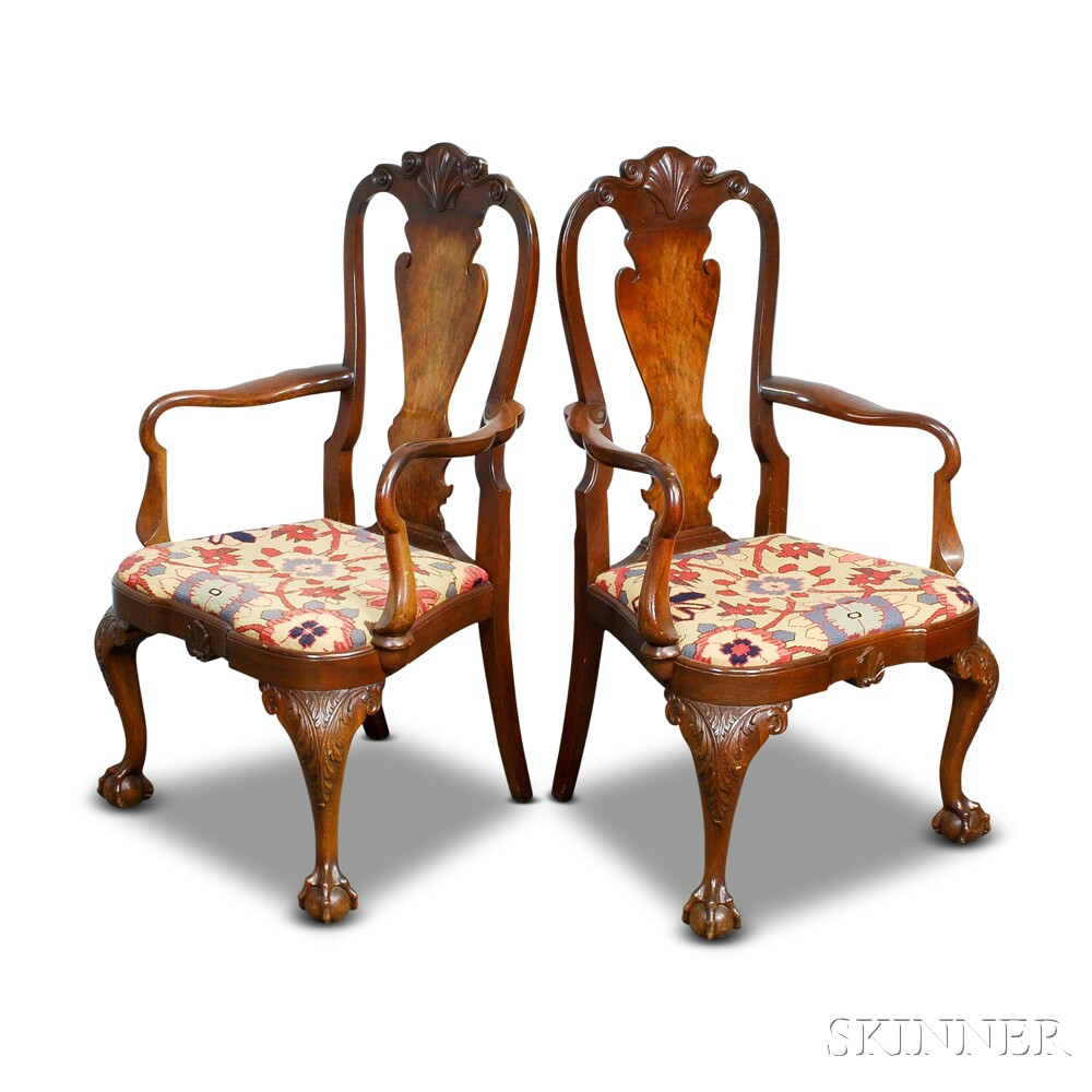 Pair of Queen Anne-style Carved Mahogany Armchairs