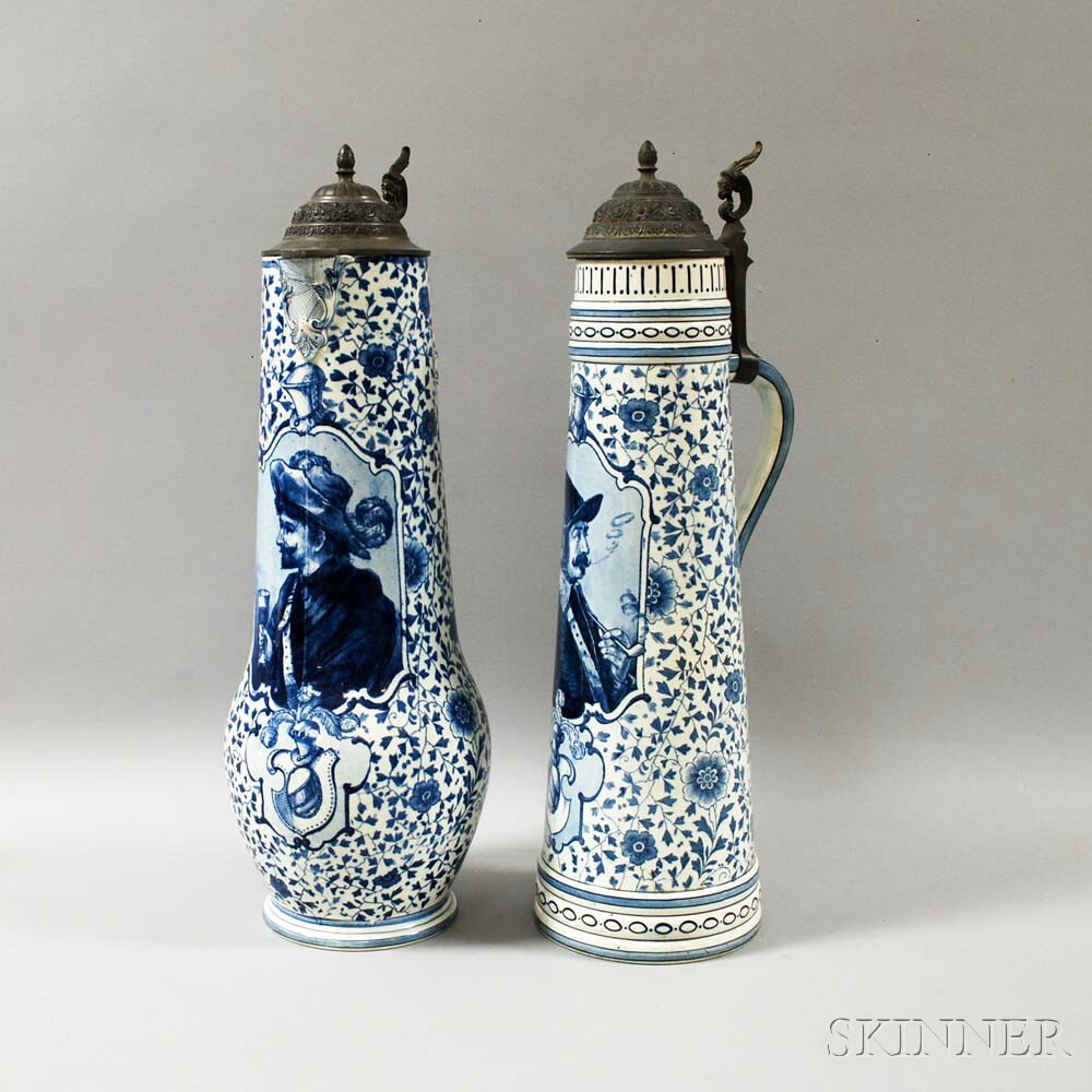 Two Royal Bonn Blue Transfer-decorated Flagons