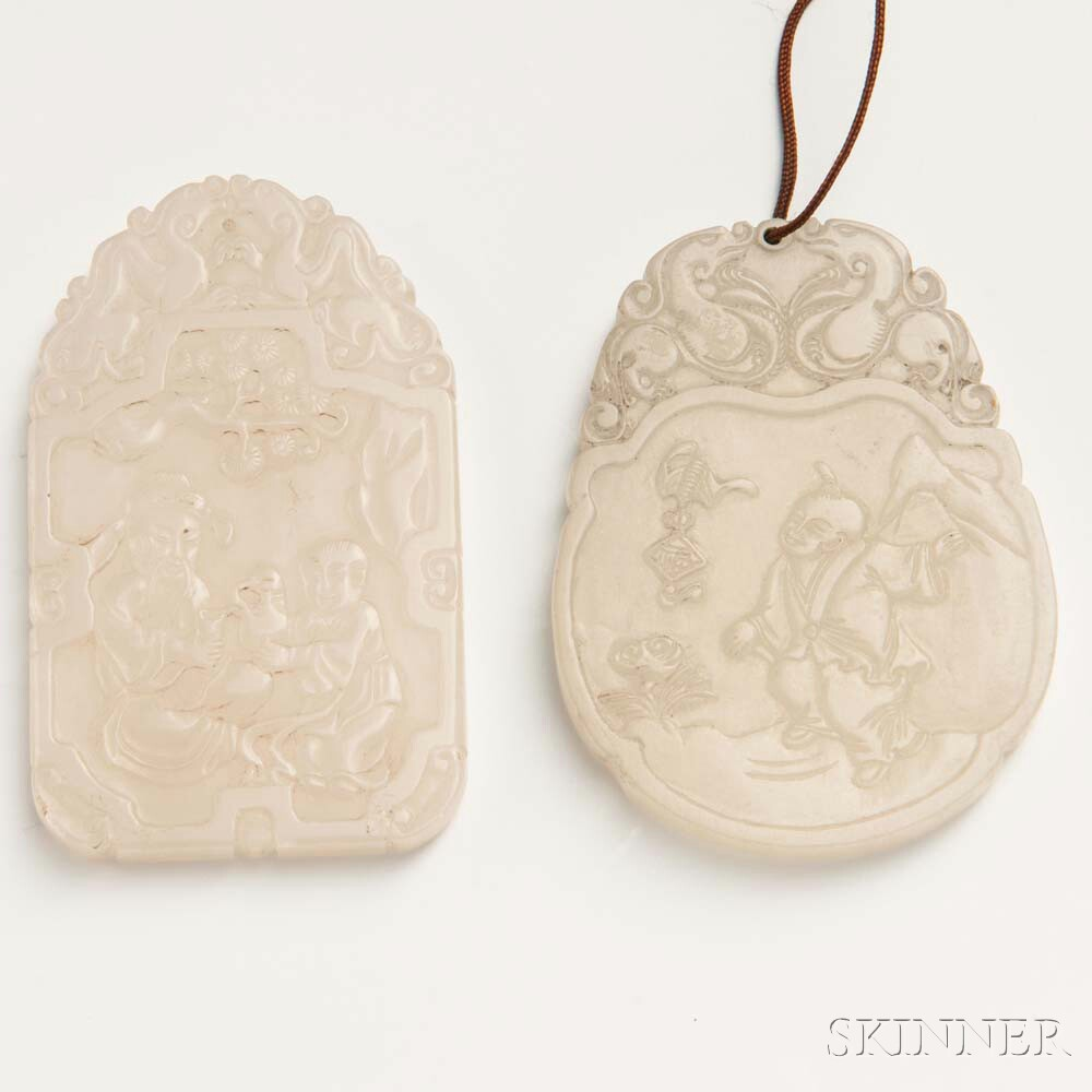 Two Jade Pendant Plaques