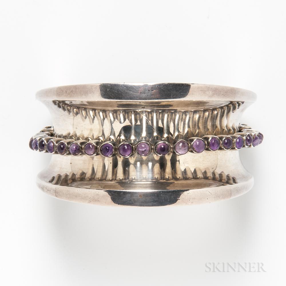 Antonio Pineda Mexican Silver and Amethyst Cuff Bracelet