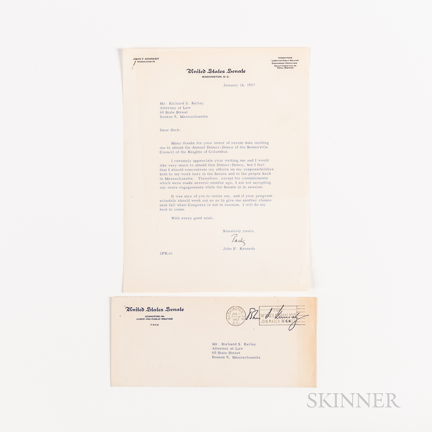 Kennedy, John F. (1917-1963) Typed Letter Signed to Richard S. Kelley, 14 January 1957.