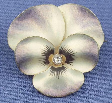 Art Nouveau 14kt Gold, Enamel and Diamond Pansy Brooch