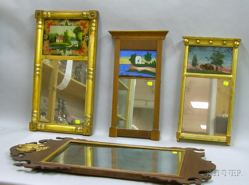 Chippendale-style Mahogany Veneer Mirror, and Small Three Federal Giltwood and Mahogany Mirrors with Reverse-pa...