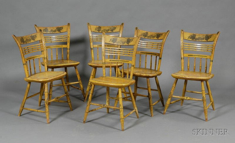 Set of Six Yellow Decorated Fancy Chairs