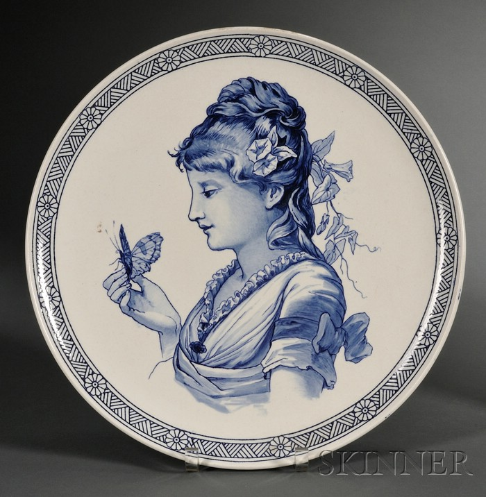 Wedgwood Queen's Ware Blue Transfer Printed Portrait Charger