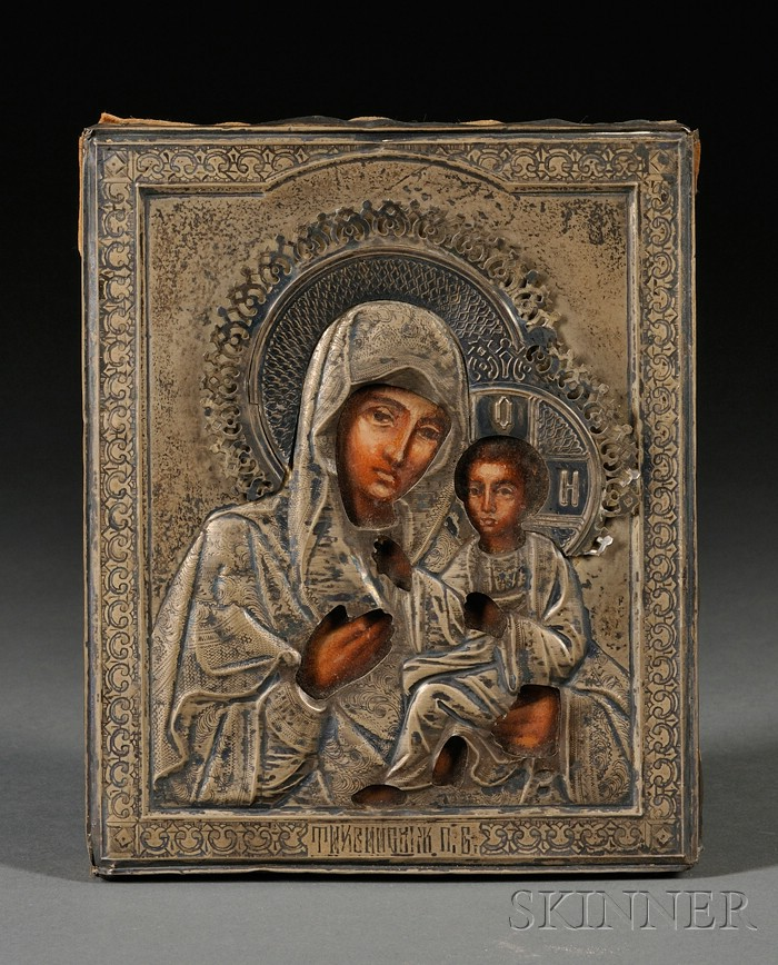 Small Russian Icon of the Tikhvin Mother of God in Silver Riza