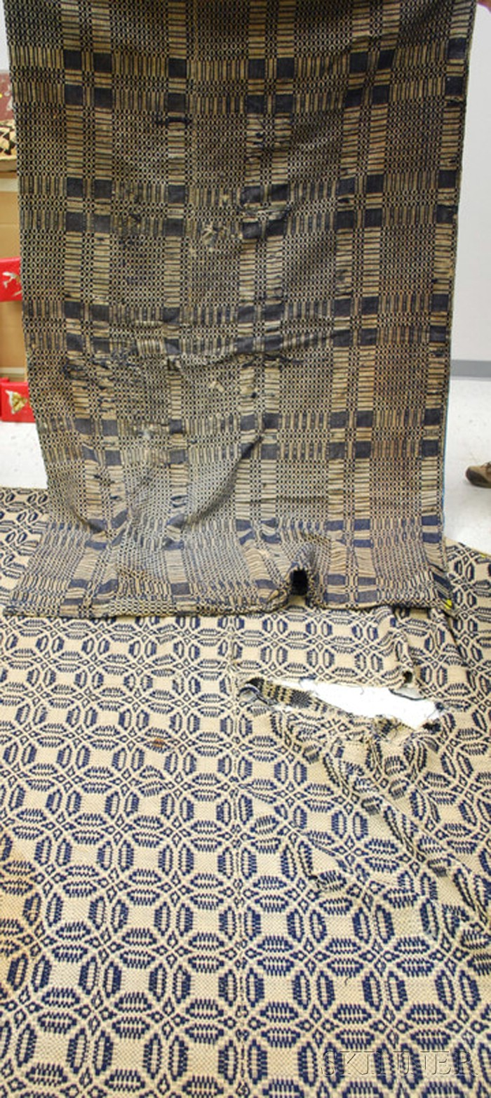 Two Blue and White Woven Wool Coverlets.
