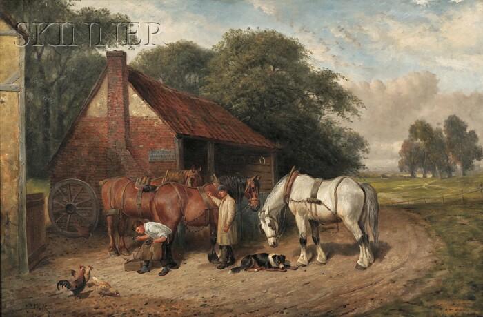 Attributed to Samuel Joseph Clark (British, 1834-c. 1912)      At the Blacksmith