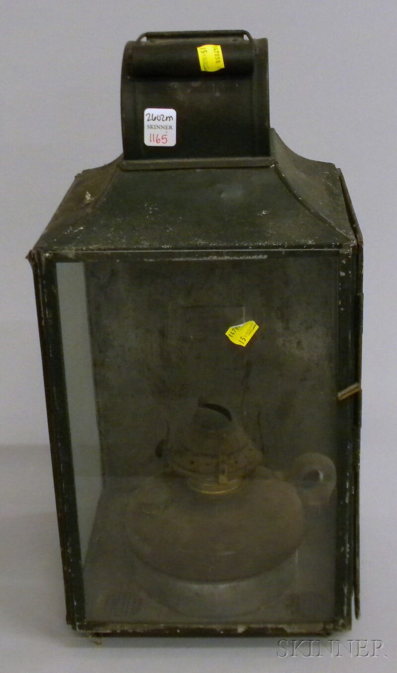 Green-painted Tin and Glass Kerosene Lantern