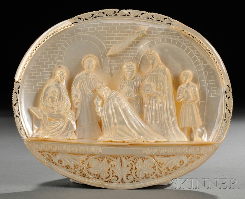 Carved Mother-of-pearl Nativity Scene