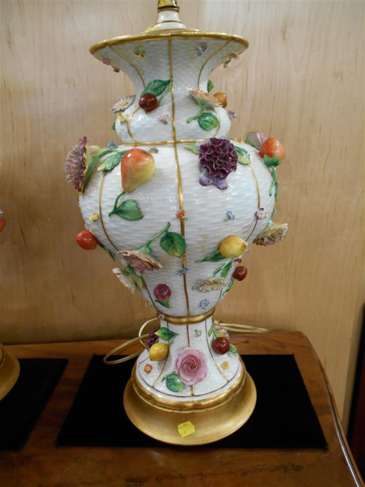 Pair of Meissen-style Porcelain Lamp Bases