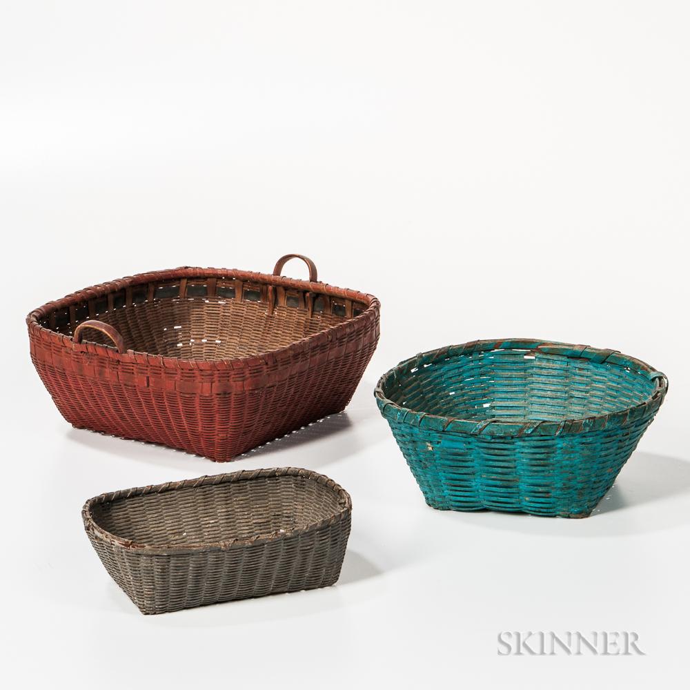 Three Painted Ash Splint Baskets
