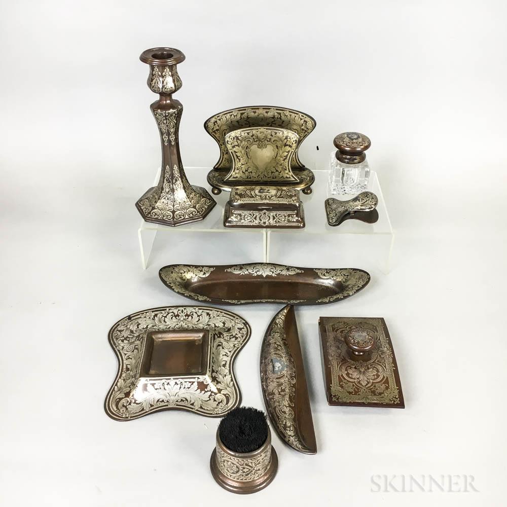 Reed & Barton Silver Overlay on Bronze Ten-piece Desk Set