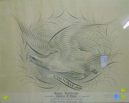 "Framed Goldey College, Wilmington, Delaware, Penwork-style ""Progress"" Business   Penmanship Honor Certificate"