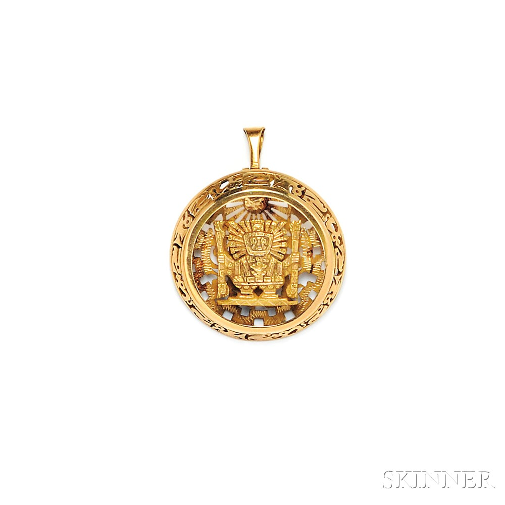 18kt Gold Pendant/Brooch and Ring