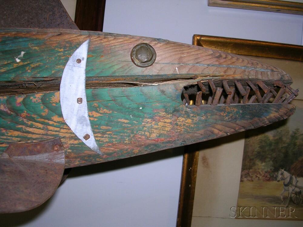 Painted Wood and Sheet Iron Codfish Weathervane