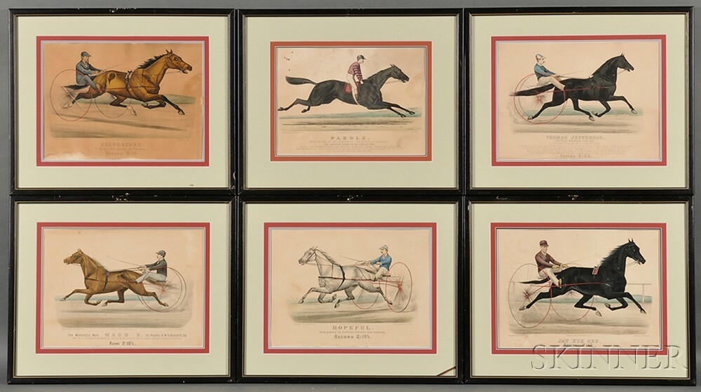 Currier & Ives, publishers (American, 1857-1907)      Six Small Folio Horse Racing Lithographs.