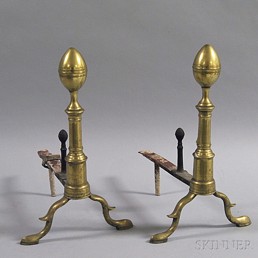 Pair of Federal Brass and Wrought Iron Lemon-top Andirons