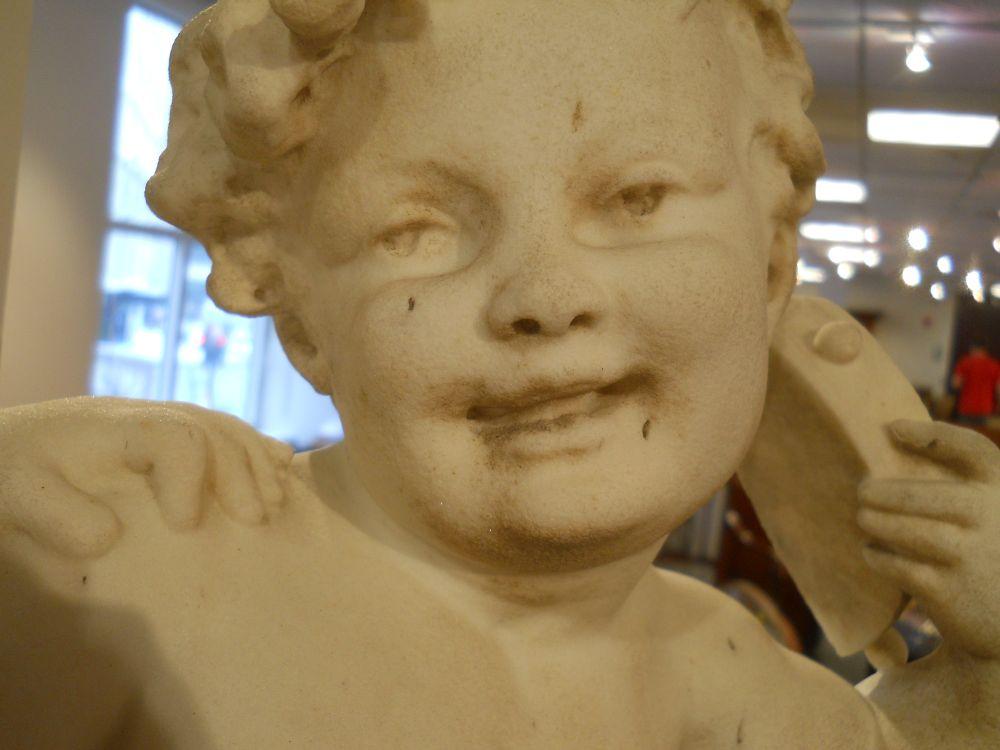 Benoît Rougelet (French, 1834-1894)       White Marble Sculpture DepictingThree Bacchanalian Putti
