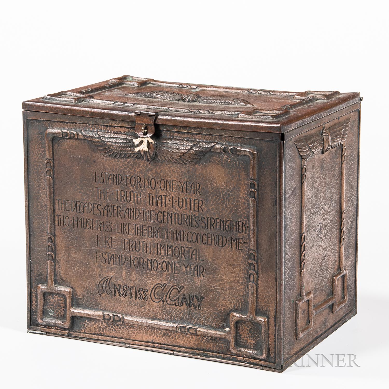 Egyptian Revival Copper Boxed Perpetual Calendar