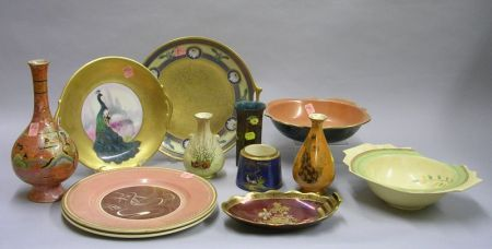 Twelve Assorted Decorated Pottery Table Items