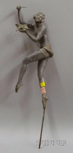Art Nouveau White Metal Figure