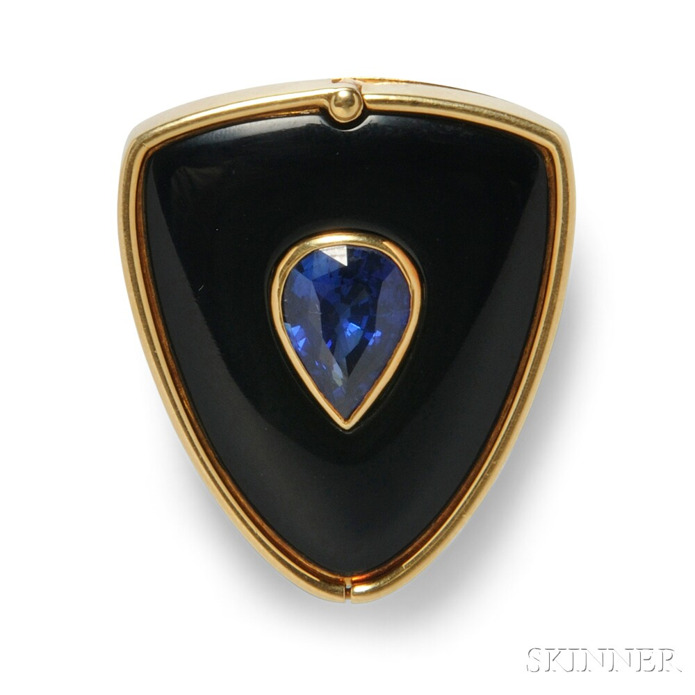 18kt Gold, Sapphire, Onyx, and Diamond Clip Brooch, Carvin French