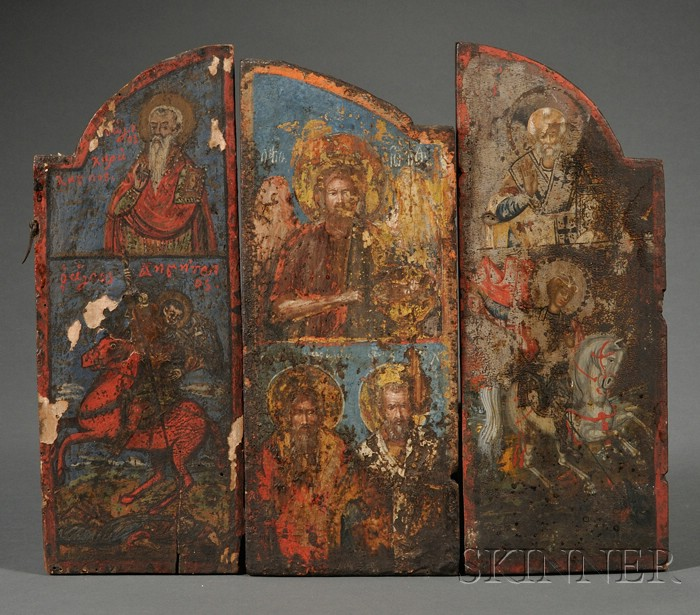 Three Greek Triptych Icon Sections