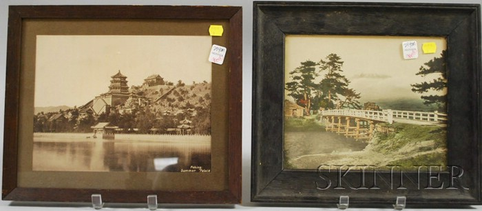Two Framed Photographic Views Depicting Peking Summer Palace and Hand-colored   Distant Mt. Fuji