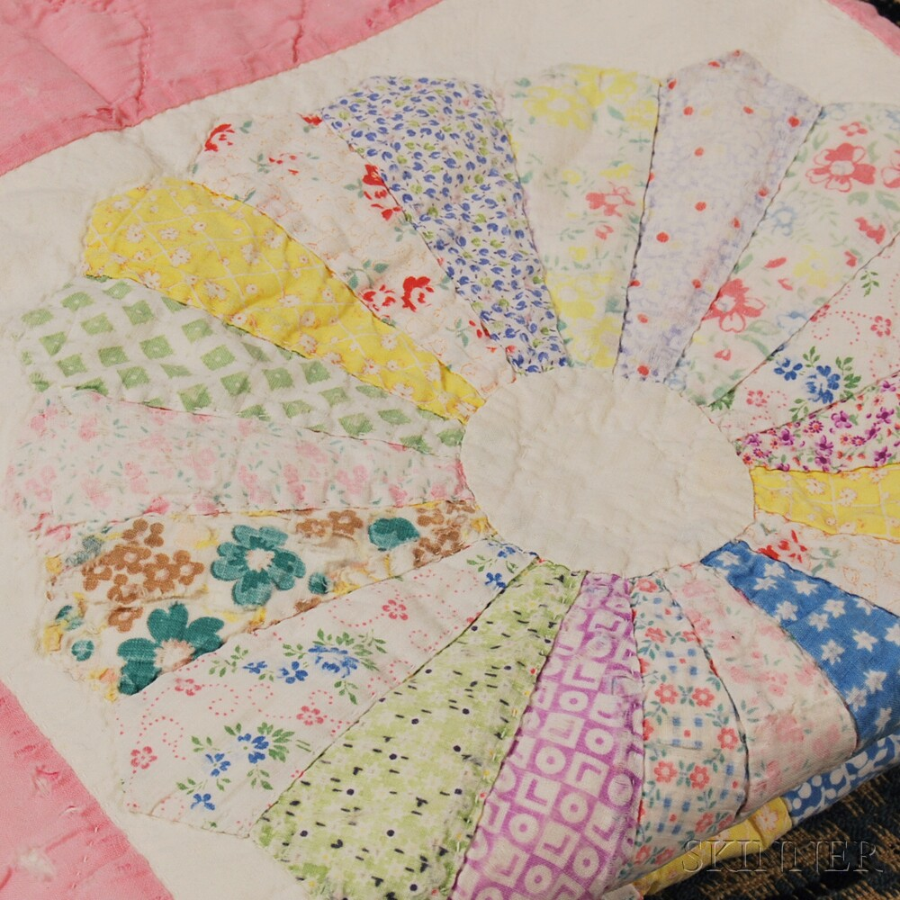 Overshot Coverlet, Homespun Cotton Bed Tick, and a