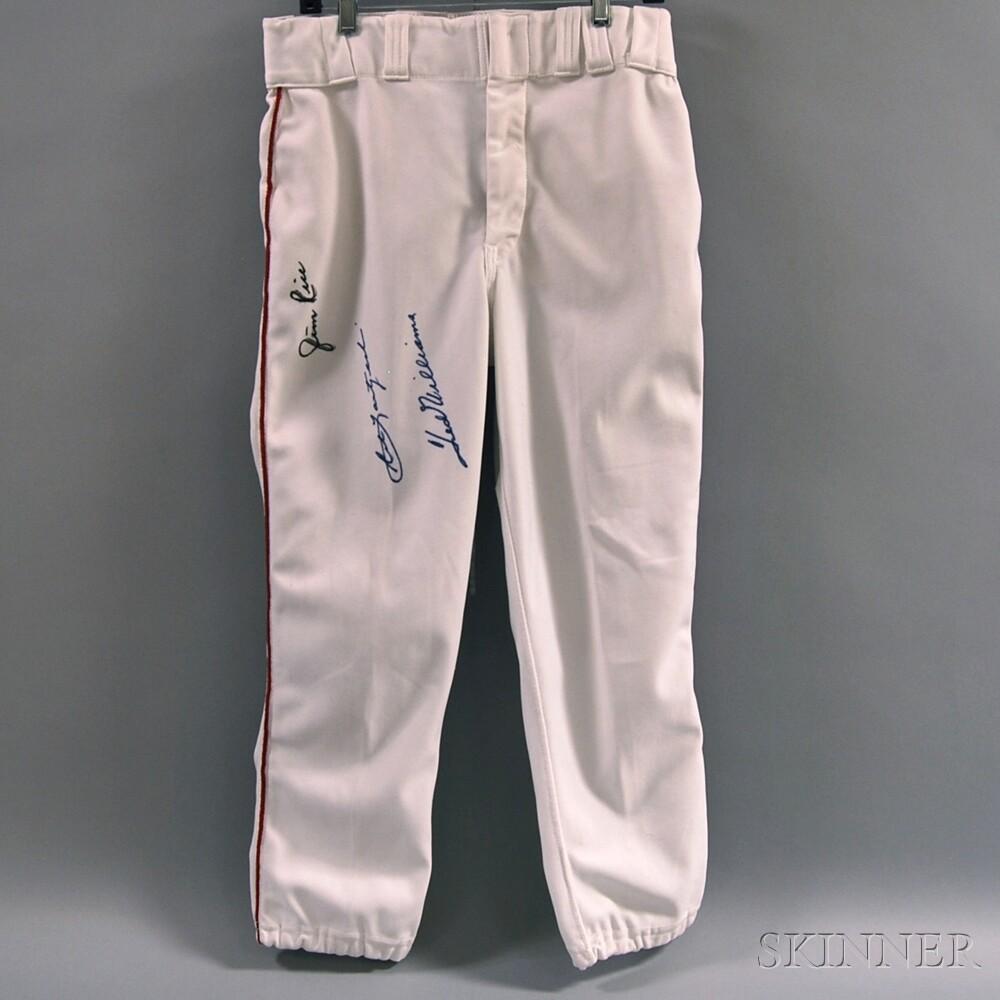 Uniform Pants Autographed by Ted Williams, Carl Yastrzemski, and Jim Rice,