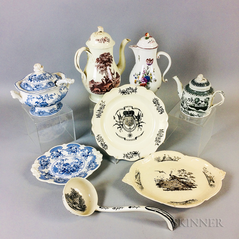 Group of Mostly Transfer-decorated Ceramic Tableware