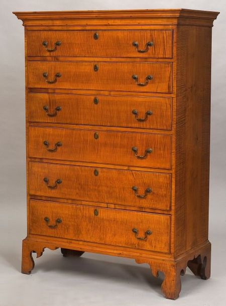Chippendale Tiger Maple Tall Chest of Drawers