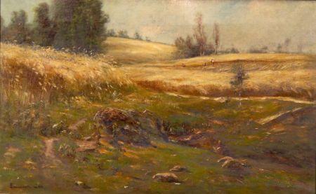 Edward Gay (Irish/American, 1837-1928)    Rolling Hills, Distant Field Workers