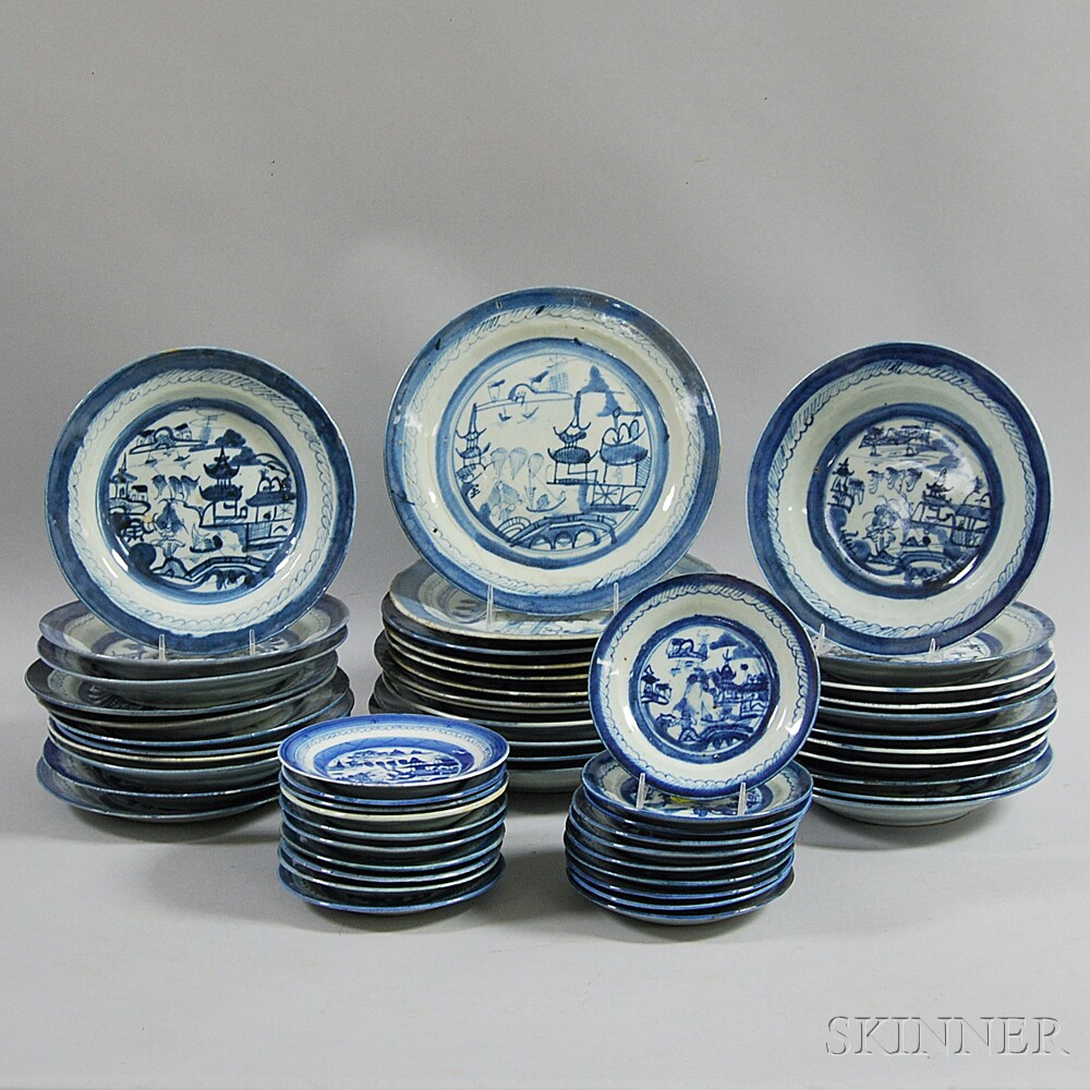 Approximately Fifty-four Pieces of Canton Tableware