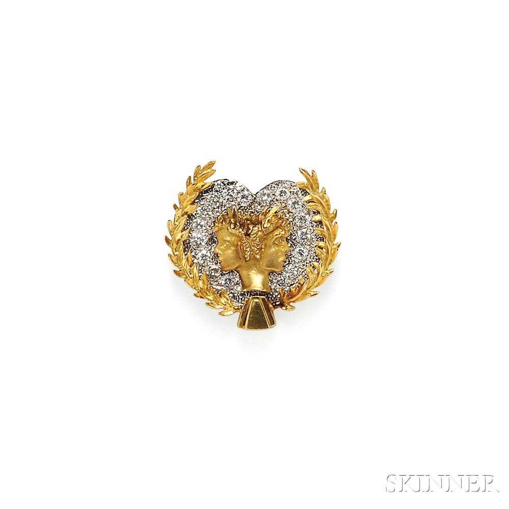 18kt Gold and Diamond Clip Brooch