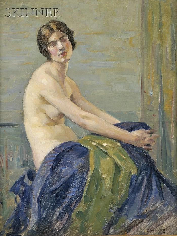 Girard Van Barkaloo Hale (American, 1886-1958)      Portrait of a Seated Female Nude