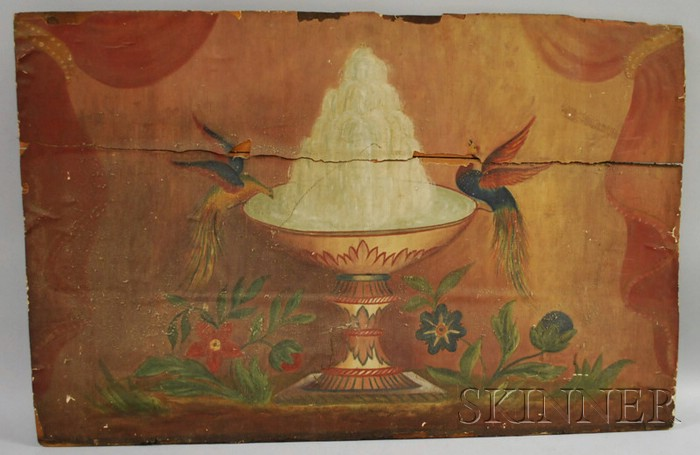 Folk Art Polychrome Scenic Painted Paper-clad Wooden Fireboard