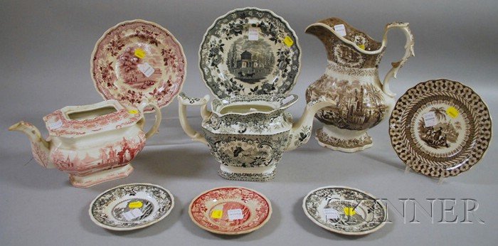 Fourteen Pieces of Assorted English Transfer-decorated Staffordshire Tableware
