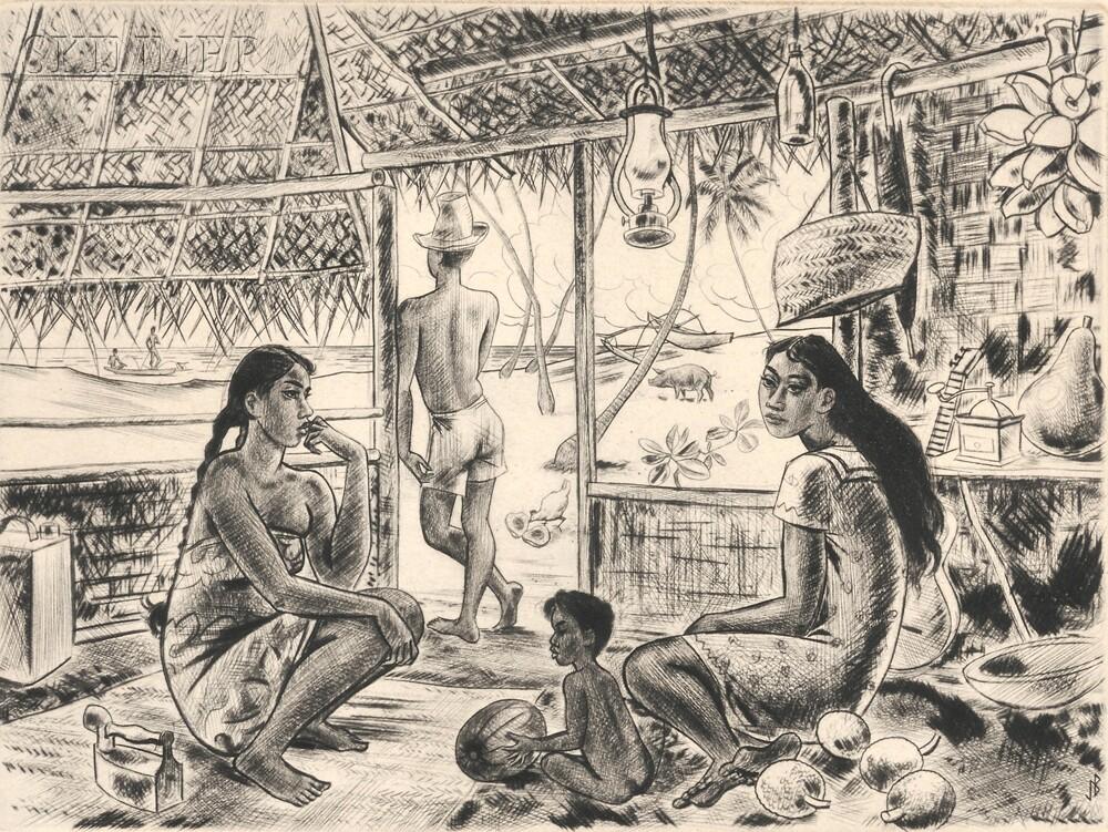 Jacques Boullaire (French, 1893-1972)      Three Tahitian Scenes:  Pahi Nuku Hiva - Tahiti
