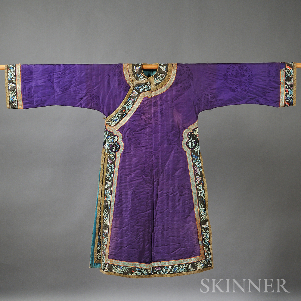 Purple Silk Woman's Winter Robe