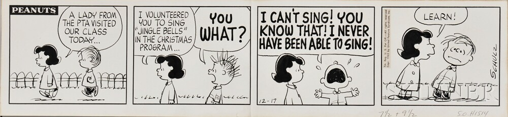 Schulz, Charles (1922-2000) Original Drawing for Peanuts Four-panel Strip, 17 December 1963.