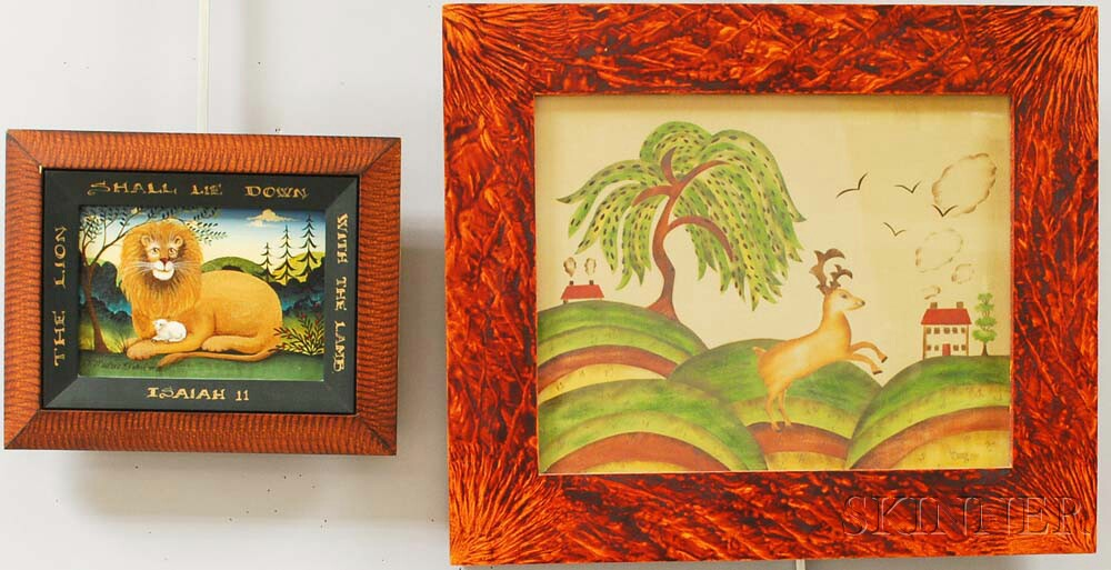 Two Framed Contemporary Folk Art Works